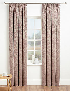 Elegant Damask Pencil Pleat Curtains