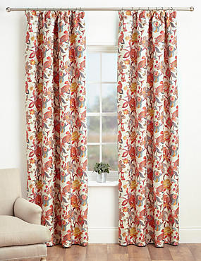 Bright Floral Pencil Pleat Curtains