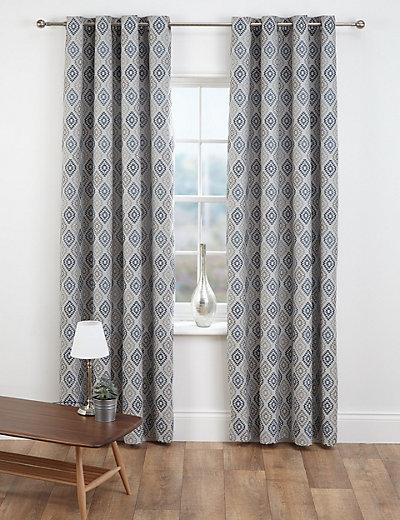 Diamond Jacquard Eyelet Curtains M Amp S