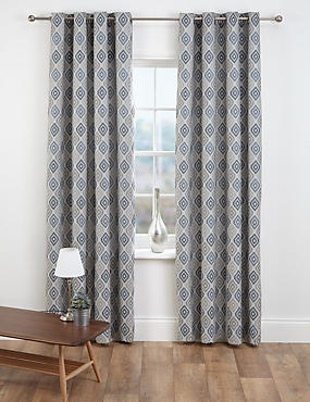 diamond jacquard eyelet curtains