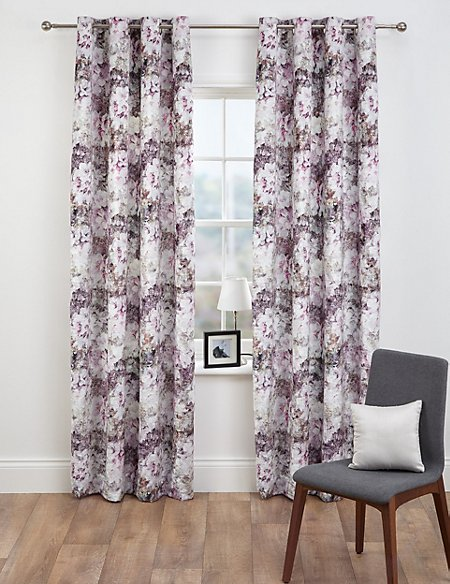 Floral Velvet Eyelet Curtains