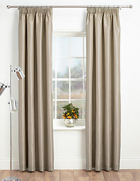 Faux Silk Pencil Pleat Black-Out Curtains