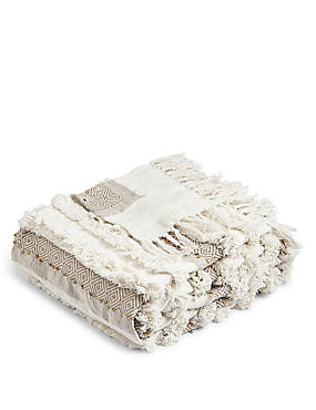 Pure Cotton Sequin Shaggy Throw