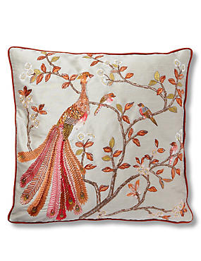 Embroidered Peacock Cushion