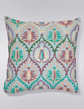 Bead Embellished & Embroidered Cushion