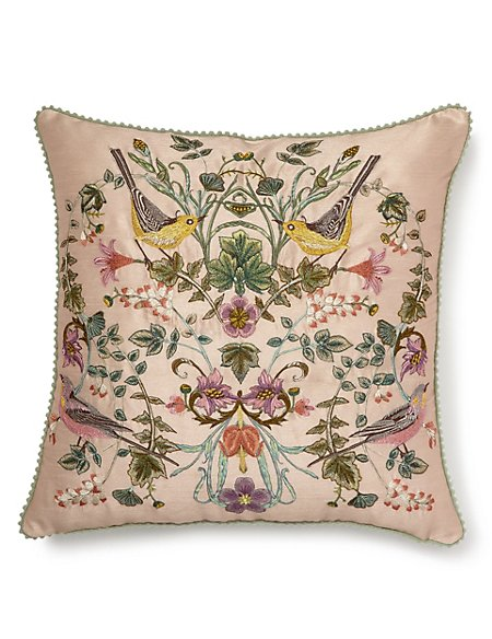 Embroidered Singing Birds Cushion
