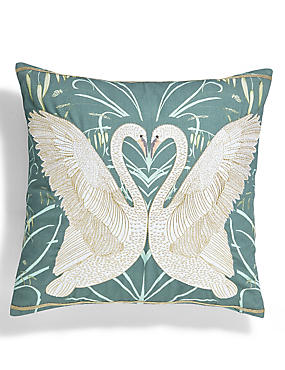 Swan Embroidered Cushion