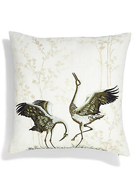 Lydia Embroidered Bird Cushion