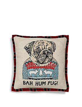 Mini Embroidered Pug Cushion