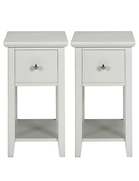 2 Hastings Grey Compact Bedside Chests