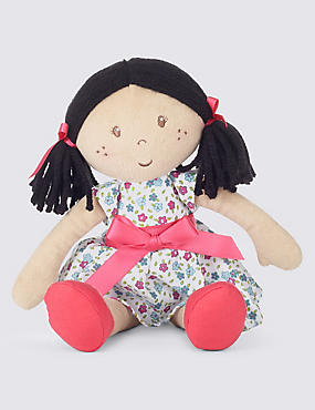 Small Black Haired Doll Soft Toy (33cm)