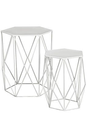 Wire Nest of Tables White, , catlanding