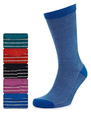 5 Pairs of Freshfeet™ Striped Cushioned Sole Socks Clothing