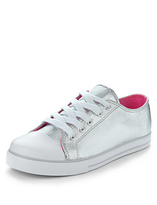 Metallic Effect Lace Up Trainers Clothing
