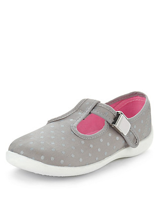Spotted Clasp Fastening T-Bar Plimsolls (Younger Girls) Clothing