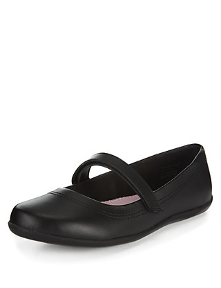Wide Fit Coated Leather Shoes (Older Girls) Clothing