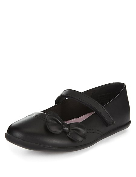 Coated Leather Slim Fit Bow Shoes (1-7 Years)