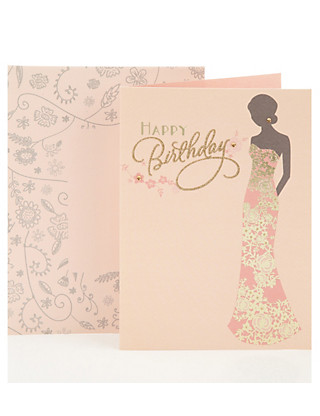 Foiled Floral Birthday Greetings Card Home
