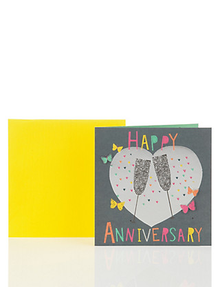Contemporary Champagne Anniversary Card Home