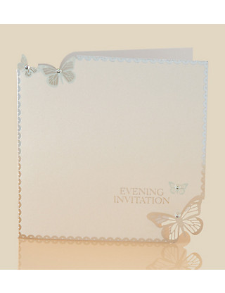6 Aqua Butterfly Evening Invitations Home