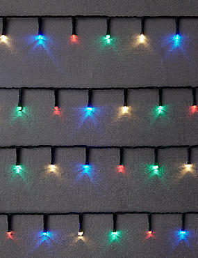 100 Multicoloured LED Lights with Green Cable