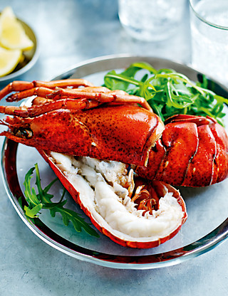 Halved Cooked Canadian Lobster Food