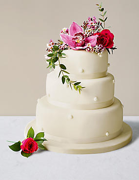 Romantic Pearl Sponge Wedding Cake (Ivory Icing)
