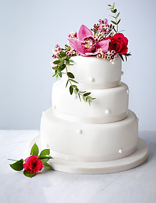 Romantic Pearl Assorted Wedding Cake (White icing) Cakes