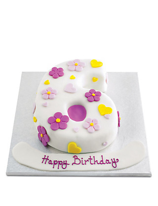 Hearts and Flowers Number Cake (Single Number) Cakes