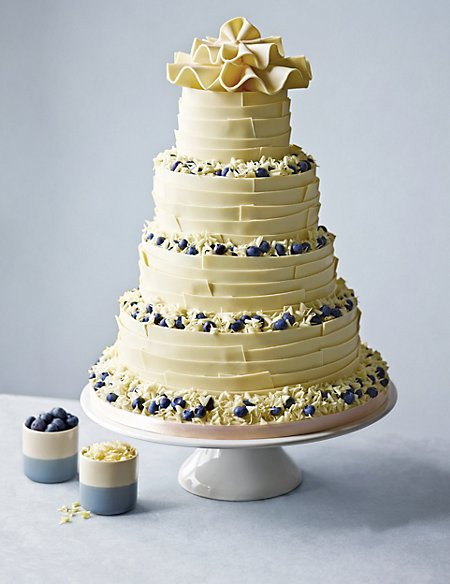 White Chocolate Ribbons Wedding Cake