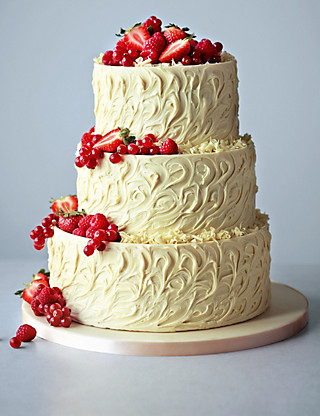 3 Tier White Chocolate Swirl Wedding Cake Cakes