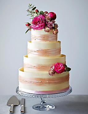 Shimmering Hoop Chocolate Wedding Cake (White & Pink)