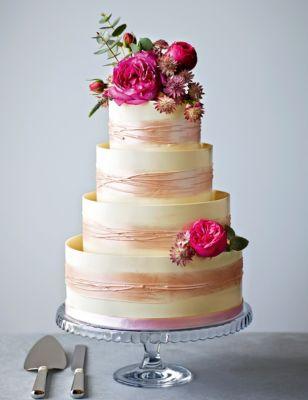 Shimmering Hoop Chocolate Wedding Cake (White & Pink) M&S
