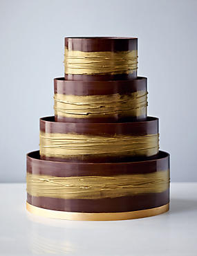 Shimmering Hoop Chocolate Wedding Cake (Dark & Gold)