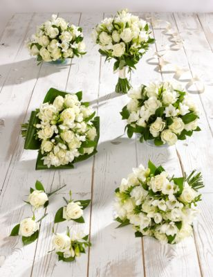 White Rose & Freesia Wedding Flowers - Collection 3 M&S