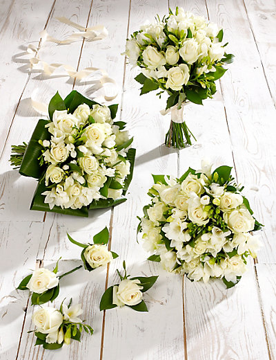 White Rose Amp Freesia Wedding Flowers Collection 2 M Amp S