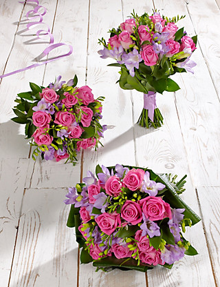 Pink & Lilac Rose & Freesia Wedding Flowers - Collection 1 Food