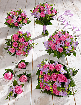 Pink & Lilac Rose & Freesia Wedding Flowers - Collection 3