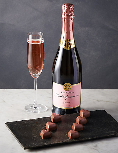 Pink Sparkling Wine & Shimmer Heart Chocolates   M&S