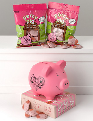 Bright Pink Percy Pig Money Bank Hampers