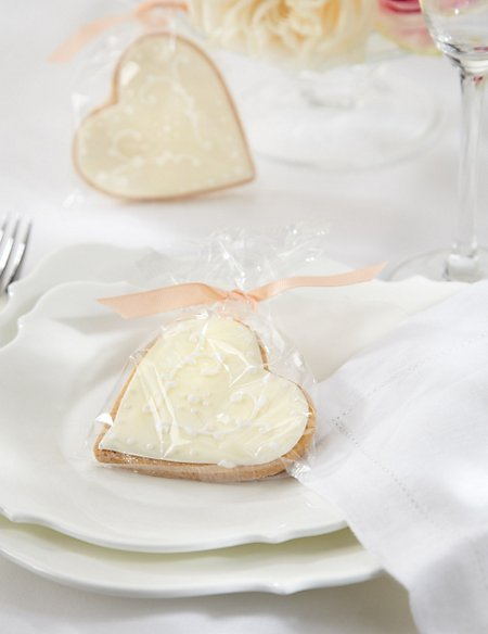 Hand Iced Heart Biscuits with Peach Ribbons - Pack of 25