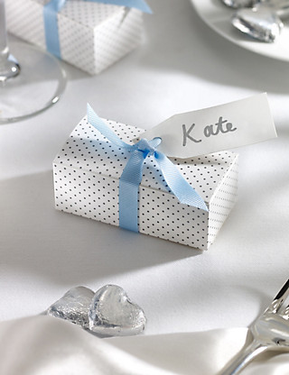 Silver Milk Chocolate Heart Wedding Favours in a Dotty Box with Blue Ribbon - Pack of 25 Hampers