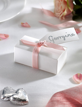 Silver Milk Chocolate Heart Wedding Favours in a White Box with Pink Ribbon- Pack of 25 Hampers
