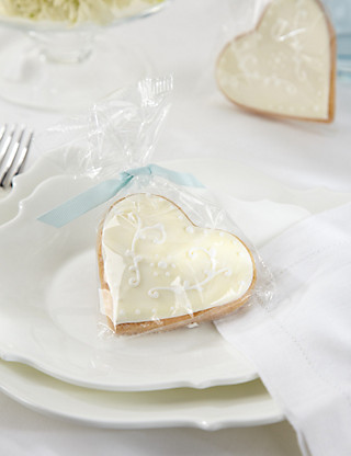 Hand Iced Heart Biscuits with Duck Egg Blue Ribbons Hampers