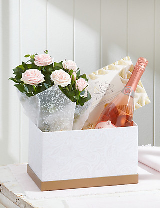 Sparkling Rose & Rose Hamper Flowers