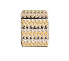Lena Cube Miro Chenille Yellow Mix Footstool