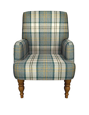 Denford Armchair Afton Check Teal