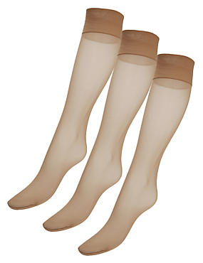 10 Denier Freshfeet™ Ladder Resist Matt Knee Highs with Silver Technology 3 Pair Pack