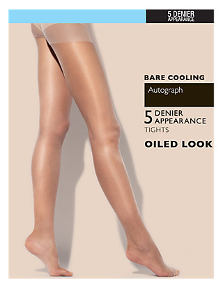 7 Denier Bare Cooling Sheer Oiled Tights Clothing