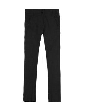 Girls' Crease Resistant Slim Leg Trousers with Zip Pocket & Triple Action Stormwear™